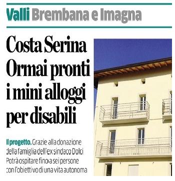 """""""Costa Serina, ormai pronti i minialloggi per Persone con Cerebrolesione Acquisita"""": un articolo dell'Eco di Bergamo"""